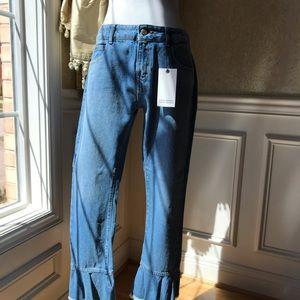 Zara Basic Denim ruffled cropped jeans